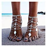 Gleamart Multi-layer Retro Punk Coins Decor Anklets Tassels Beach Ankle Chains Barefoot Sandals with Toe Rings Ancient silver