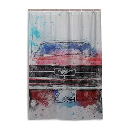 Amazon DNOVING Shower Curtain Old Car Mustang Stall