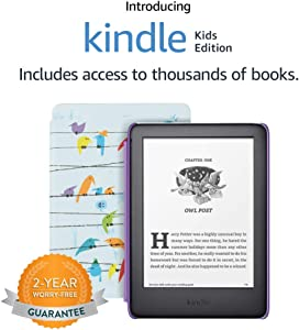 Kindle Kids Edition - Includes cover, 1 year of Kids+ and 2-Year Worry-Free Guarantee - Rainbow Birds Cover