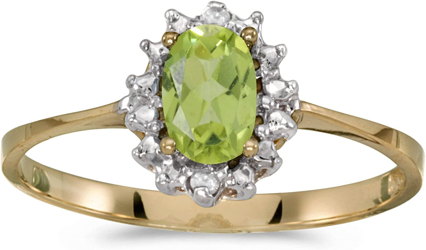FB Jewels 14k Yellow Gold Genuine Birthstone Solitaire Oval Gemstone And Diamond Wedding Engagement Statement Ring