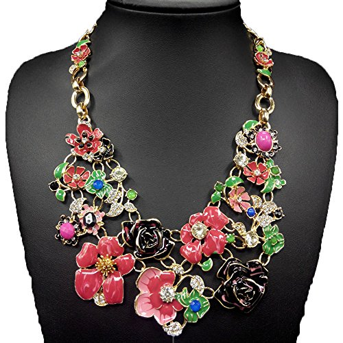 Grenf Fashion Retro Prom Wedding Bridal Style Rainbow Flower Rhinestone Alloy Necklace Set Frontal Floral Bib Statement Chunky Woman Necklace Earrings Camellia Flower Pendant (Red)