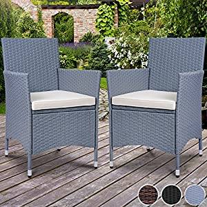 miadomodo 2 pcs polyrattan chairs set garden armchair different colours grey