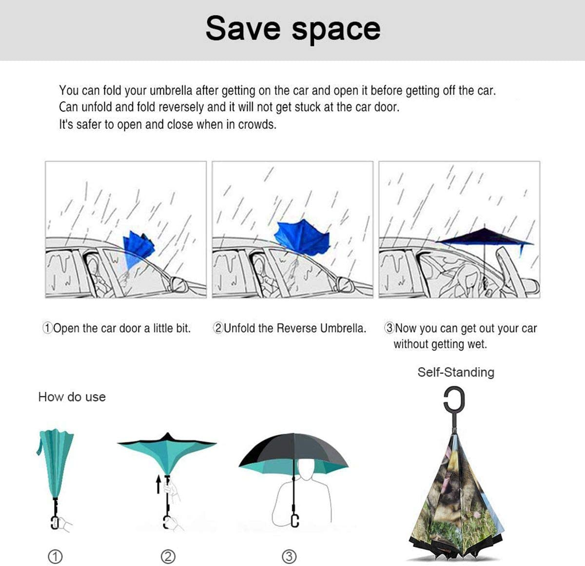 Self Stand Upside Down with C-Shaped Handle Folding Reverse Umbrella for Car Rain Outdoor PYFXSALA Four Cool Dogs Windproof Inverted Umbrella Double Layer UV Protection