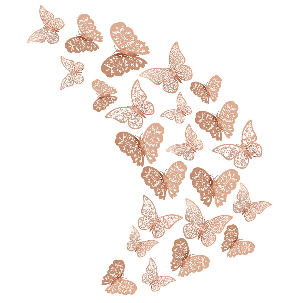 Xinzistar 36 Pcs 3D Butterfly Wall Stickers Metallic Hollow-Out Art Mural Sticker Removable Decorative DIY Wall Decals for Bedroom Living Room (Rose Gold)