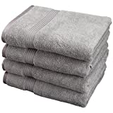 Superior Luxurious Soft Hotel & Spa Quality Bath Towel Set of 4, Made of 100% Premium Long-Staple Combed Cotton - Silver, 30'' x 54'' each