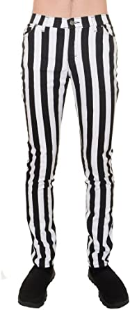Mens Indie Vintage Retro 60s 70s Mod Black White Striped Stretch Skinny Jeans