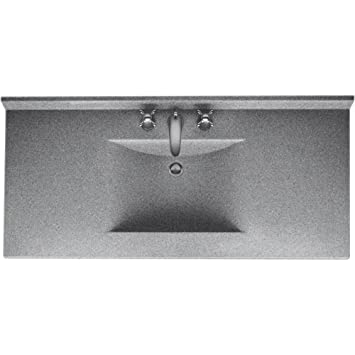 swanstone cv2243042 contour 43inch solid surface vanity top with gray granite basin