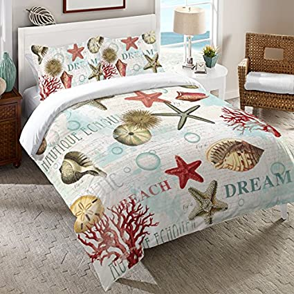 Amazon Com Bella Coastal Decor Nautique Dream Duvet Cover Queen