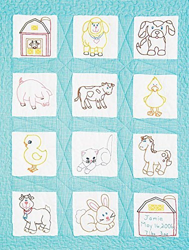 "Jack Dempsey Stamped White Nursery Quilt Blocks 9""X9"" 12/pkg, Barnyard Friends"