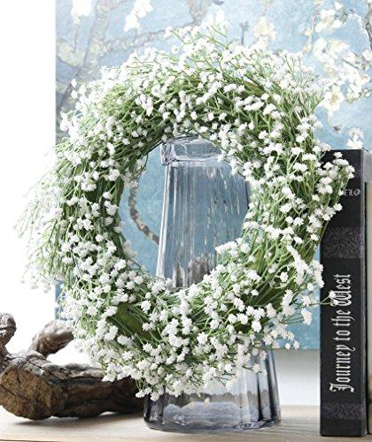 14 White Baby Breath Twig Wreath Artificial Plastic
