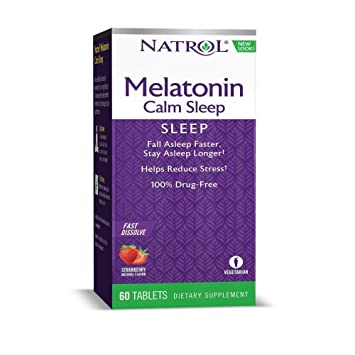 Natrol Advanced Melatonin Plus Sleep Aid, Strawberry, Fast Dissolve Tablets, 120 Count (