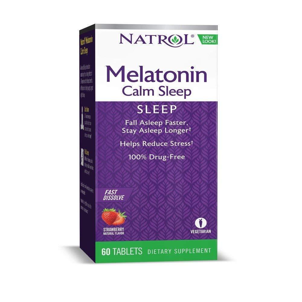 Natrol Advanced Melatonin Plus Sleep Aid, Strawberry, Fast Dissolve Tablets, 120 Count (2 X 60 Count Bottles)