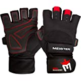 Meister Wrist Wrap Weight Lifting Gloves w/Gel Padding