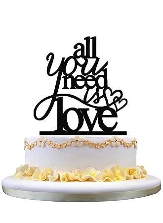 Toalla de pastel de bodas Topper de pastel de monograma Todo lo que necesitas es Silueta de amor con decoración de silueta de 2 corazones: Amazon.es: ...