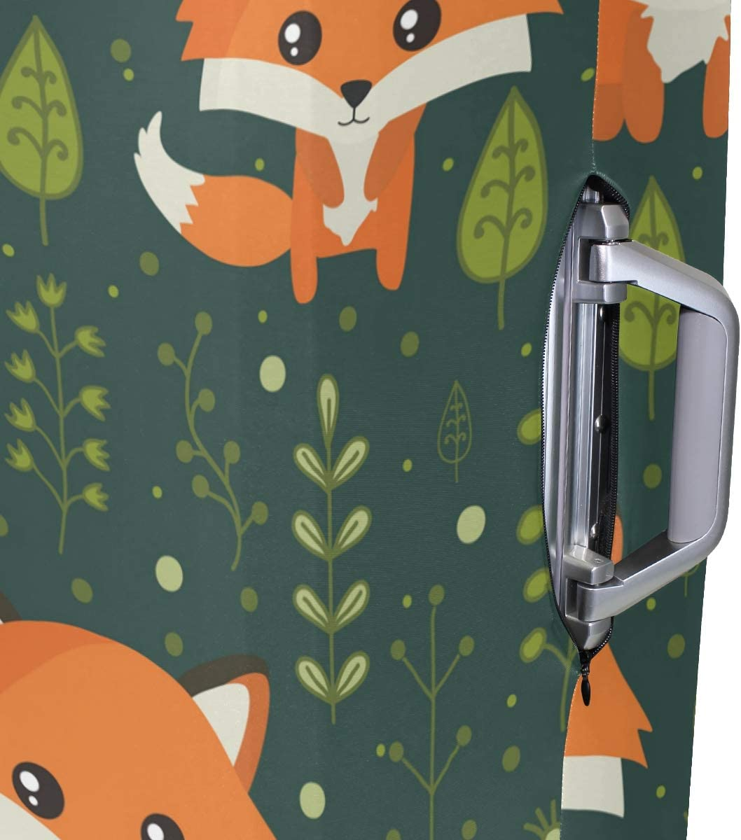 FOLPPLY Cute Cartoon Animal Fox Forest Luggage Cover Baggage Suitcase Travel Protector Fit for 18-32 Inch