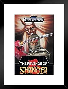 Pyramid America Revenge of Shinobi Sega Genesis Classic Video Game Matted Framed Wall Art Print 20x26 inch