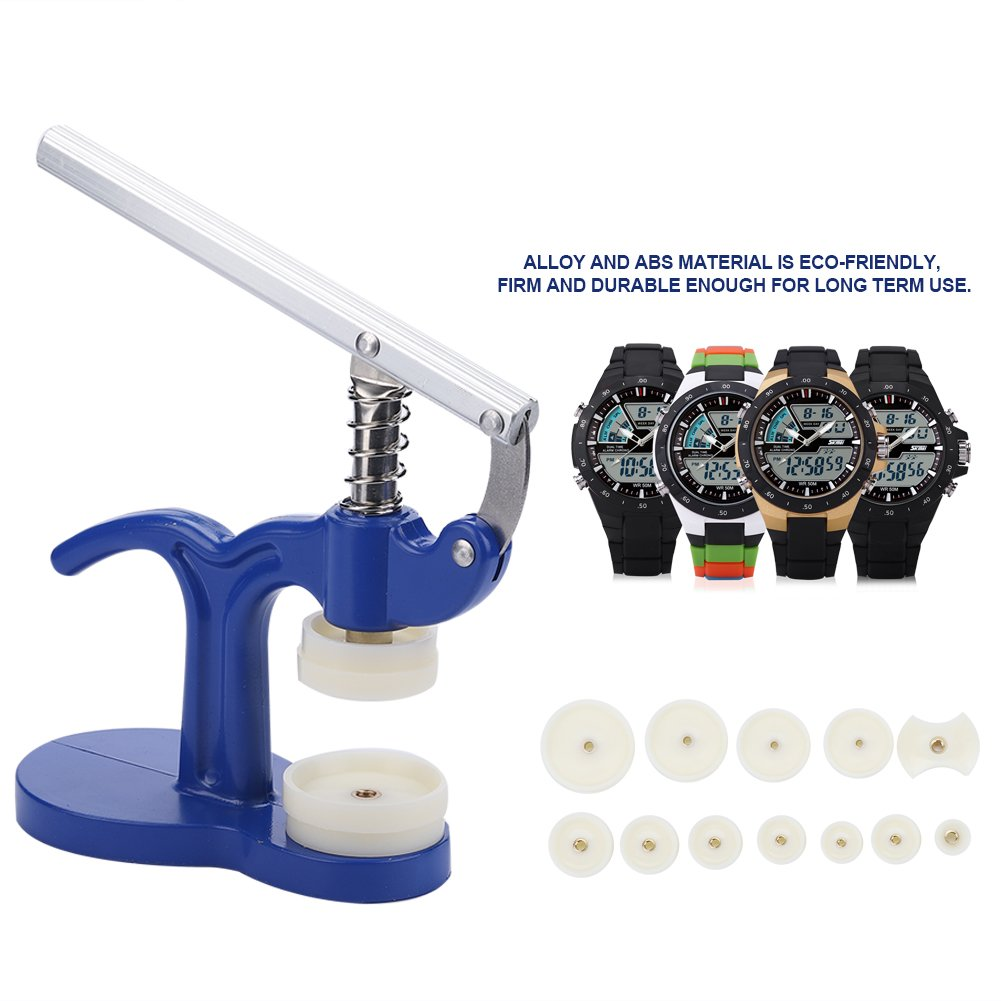 Watch Back Case Cover Press Closer Watchmaker Presser Repair Tool With 12 Fitting Dies Blue