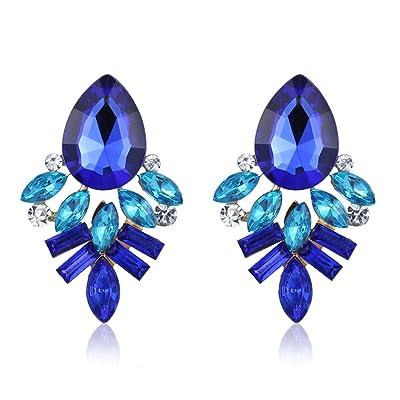 Westeng Pendientes Mujer Accesorios Joyería Circón Piedra Joyería Pendientes Nuevo Estilo Arete Cristal size 1 (Azul): Hogar