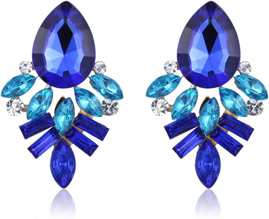 Westeng Pendientes Mujer Accesorios Joyería Circón Piedra Joyería Pendientes Arete Cristal Size 1 (Azul)