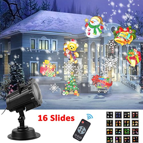 Led Projector Light Holiday Projector CLEVERLOVE 2017 Newest Christmas Projector Light Waterproof Outdoor Landscape Lighting Spotlight with 16 Slides Dynamic Lighting Show for Christmas, Halloween