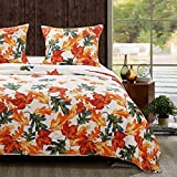 ultra blue layout dye - HNU 3 Piece King Quilt Set, Farmhouse Style Border Pattern Multi Color Falling Maple Leaves Amber Orange Printed Natural Look Reversible Bedding All-Over Golden Yellow Leaf Print Scarlet Red Ground