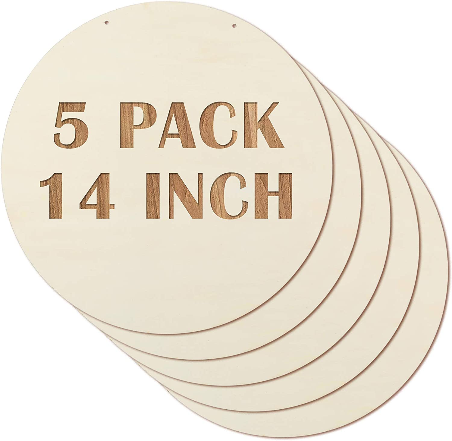 5 Pieces 14 Inch Round Wood Discs Unfinished Wooden Tags Circle Wood Chips Blank Wood Cutouts Rustic Wooden Slices Round Hanging Ornaments with 2 Hole and 3 Meter Rope for Christmas New Year Decor