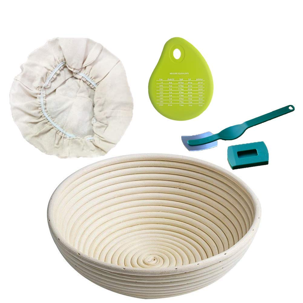Senpulism Bread Proofing Basket Set, 10 Inch Round Brotform Banneton Proofing Basket, Sourdough Bread Proofing Bowls for Professional Home Baker, Bread Proofing Baskets + Scraper + Cloth Liner + Lame