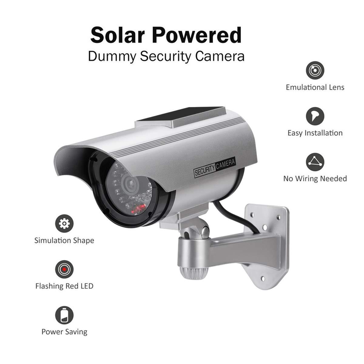 4 Paquete C/ámara Falsa C/ámara de vigilancia Falsa simulada con Bala Solar C/ámara Domo CCTV de Seguridad con luz LED Intermitente para Exteriores Interiores hogar Negocios