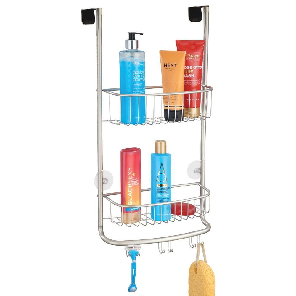 mDesign Modern Metal Bathroom Tub and Shower Caddy, Over Door Hanging Storage Organizer Center with 6 Built-in Hooks and 2 Baskets for Bathroom Shower Stalls, Bathtubs - Satin Finish
