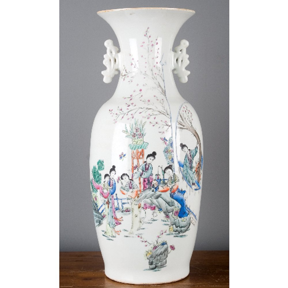 Home decor. White Garden Scene Porcelain Vase. Dimension: 11 x 11 x 22. Pattern: Color Classic.