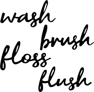 Hotop 4 Pieces Wash Brush Floss Flush Metal Sign Farmhouse Bathroom Metal Wall Letters Rustic Farmhouse Bathroom Wall Art Bathroom Metal Wall Sign for Home Laundry Room Bathroom