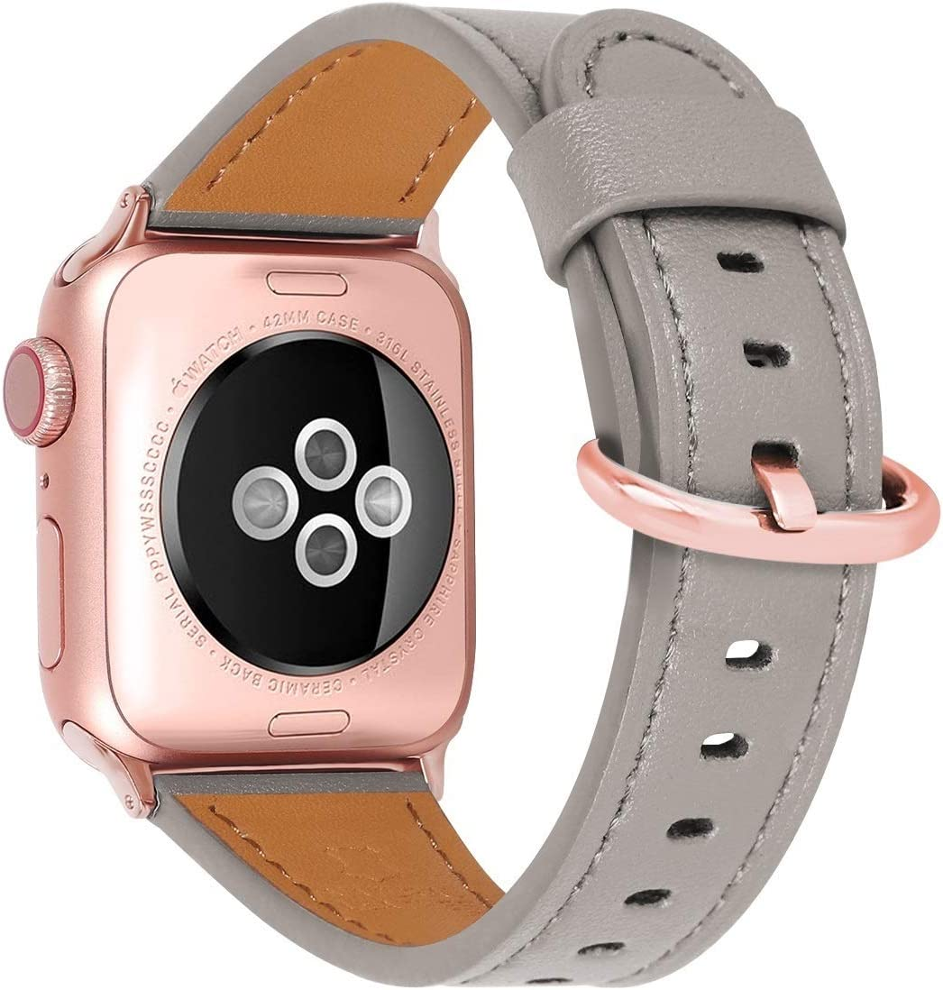HUAFIY Compatible for apple Watch Band 38mm 40mm, Top Grain Leather Band Replacement Strap iWatch Series 6/ 5/ 4/ 3/2/1,SE,Sport, Edition (Khaki grey+rose gold, 38mm40mm)