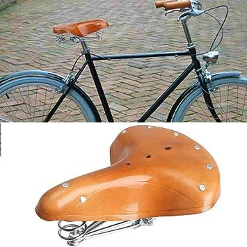 Sillín de Bicicleta Estilo Retro Vintage de Piel con amortiguación ...