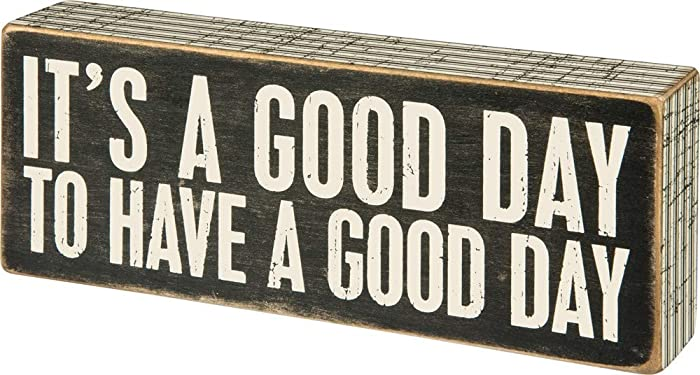 "Primitives by Kathy 31127 Pinstriped Trimmed Box Sign, 8"" x 3"", A Good Day"