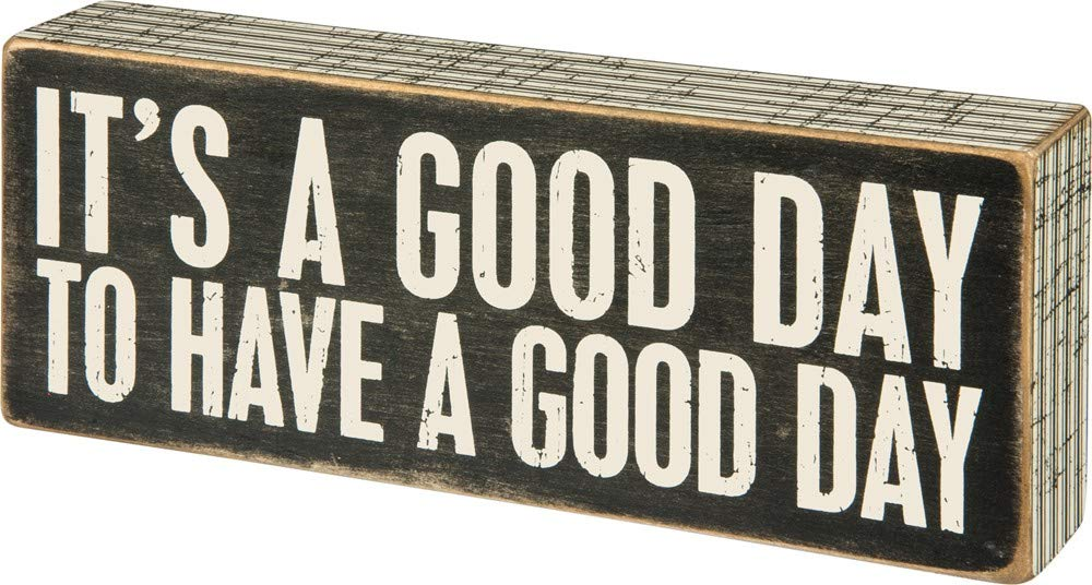 Primitives by Kathy 31127 Pinstriped Trimmed Box Sign, 8'' x 3'', A Good Day