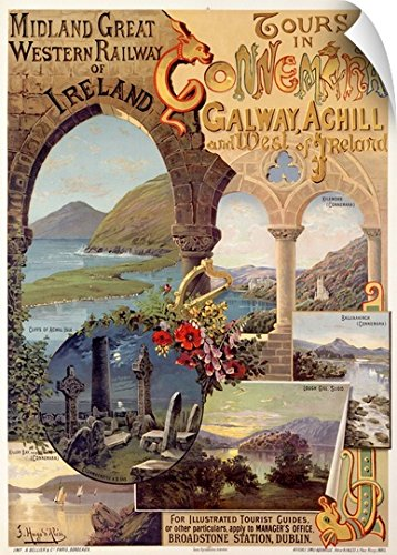 Canvas On Demand Wall Peel Wall Art Print Entitled Ireland  Tours With Connemira Railway  Vintage Poster  By Hugo Dalesi