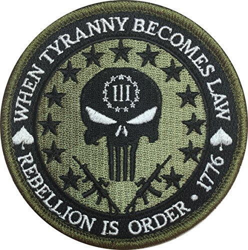 Patch Squad Men's Three Percent Tyranny Punisher Liberty Morale Patch (Multitan)