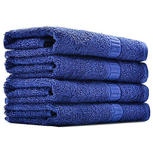 Alurri Hotel and Spa Like Set of 4 Luxury Hand Towels by Super Soft and Quick Absorbent – Made of 100% Natural Cotton Material – Machine Washable - Dry Hand & Face - 16x28 inch (4, Navy)