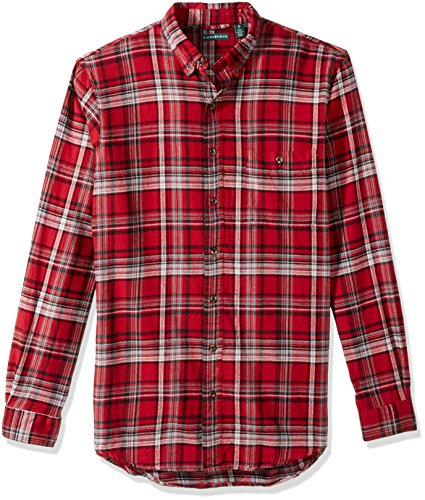 (G.H. Bass & Co. Men's Big and Tall Fireside Flannels Long Sleeve Button Down Shirt, Rhubarb, Large)