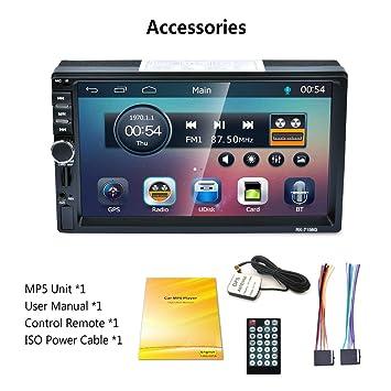 RK-7156G 2Din 7 Pulgadas Coche MP5 Bluetooth FM/RDS Radio de Coche HD Pantalla táctil Navegación GPS Coche Multimedia Reproductor Soporte USB TF - Azul: ...