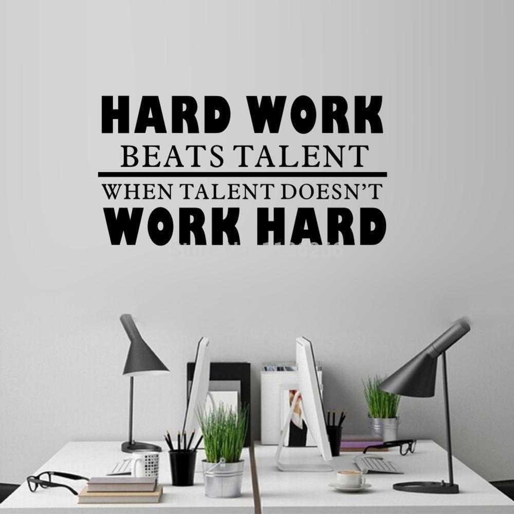 Amazon.com: thoothy Wall Sticker Quote Hard Work Beats ...