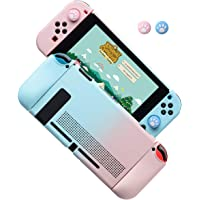 Dockable Case for Nintendo Switch, Protective Cover Case for Nintendo Switch and Joy-Con Controllers (Blue-Pink)
