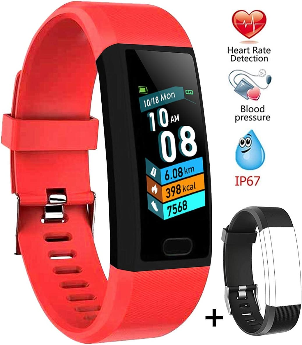 linyingdian Smartwatch, Reloj Inteligente Impermeable IP67 Pulsera de Actividad Inteligente con Monitor de Sueño Pulsómetros Podómetro Contador de Caloría, para Hombre Mujer niños (Rojo)