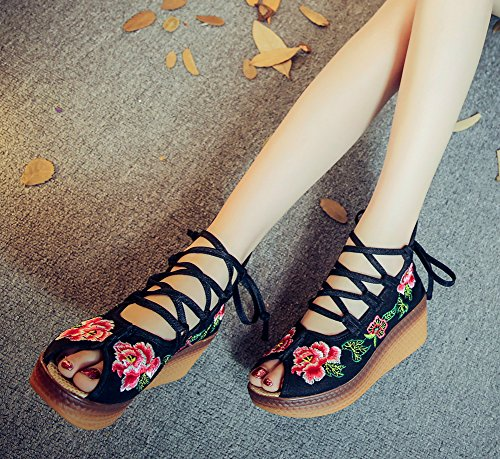 AvaCostume Womens Embroidery Peep-toe Wedge Lacing Bohemia Sandals Black UWdPD3e