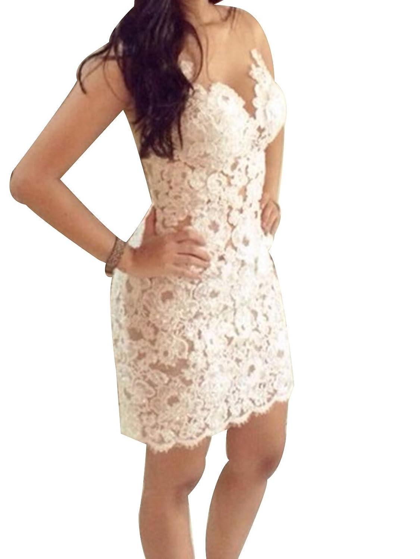 Womens Sexy V Neck Sleeveless Lace Crochet Slim Clubwear Cocktail Mini Dress