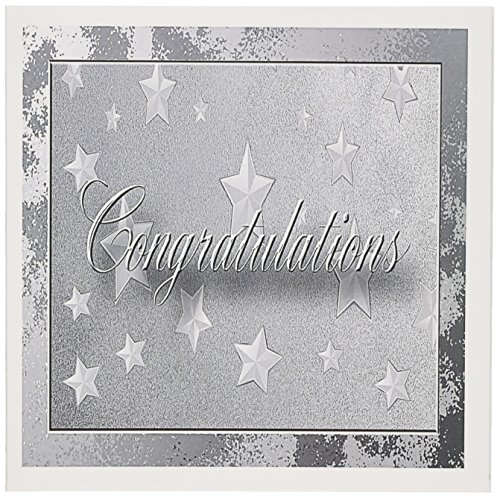 - 3dRose Silver Stars Congratulations - Greeting Cards, 6 x 6 inches, set of 6 (gc_20152_1)