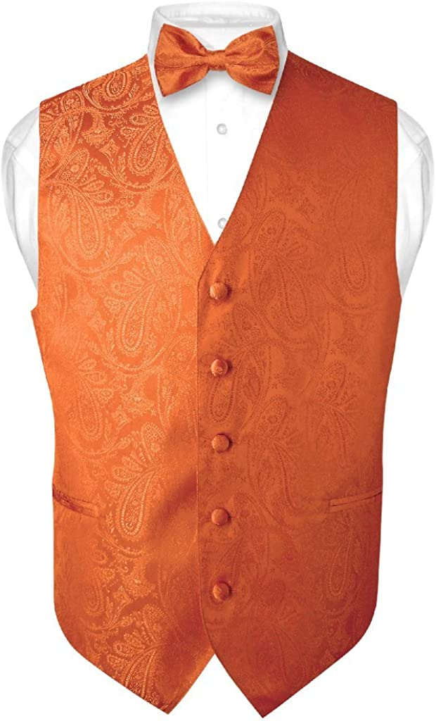 Men's Paisley Design Dress Vest & Bow Tie Burnt Orange Color Bowtie Set