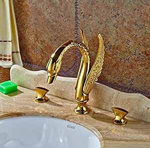 Gowe ba o lavabo grifo acabado dorado 3 piezas mueble para for Grifo dorado