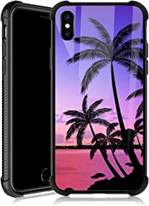 iPhone XR Case,Colorful Sunset Palm Leaf iPhone XR Cases for Girls,Tempered Glass Back Cover Anti Scratch Reinforced Corners Soft TPU Bumper Shockproof Case for iPhone XR Pink Beautiful Seaside
