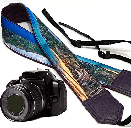 Light Weight and Well Padded Camera Strap Beach Camera Strap Sand and Palms Camera Strap.Camera Strap with Landscape Code 00087 Dark Purple DSLR//SLR Camera Strap Durable Water